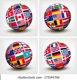 International flags globe images stock photos vectors shutterstock flags of the world in globe vector illustration freerunsca Image collections