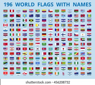 Flags of the world with the name of the country. Vector illustration.