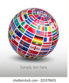 Flags globe images stock photos vectors shutterstock flags of the world on a globe vector freerunsca Image collections