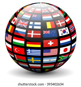 Flags globe images stock photos vectors shutterstock flags of the world on a globe vector design freerunsca Image collections