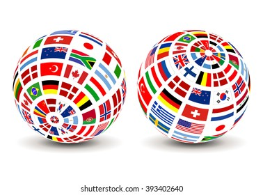 Flags of the world on a globe. Vector design.