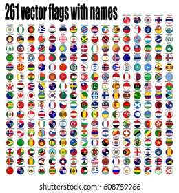 flags of the world, round icons.