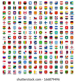 flags of the world - rounded rectangles icons with detailed emblems and official colors