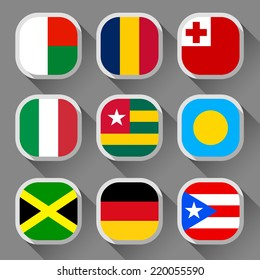 Flags of the world, rounded squares with shadow, set 07