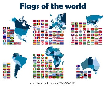 Flags of the World sorted by continents, alphabetically.