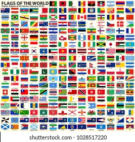 Flags of the world. Vector set of flags of Sovereign States, Regions and other Territories. February 2018. Each flag on separate layer with name. EPS10. Panama flag not included due legal reason