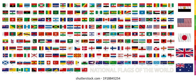 Flags of the world with waving effect, official proportion. Vector flag collection.