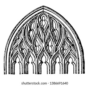 Flamboyant Tracery, Gothic architecture,  popular in France, the fourteenth to sixteenth centuries, vintage line drawing or engraving illustration.