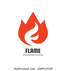 Flame with abstract letter F - vector business logo template concept illustration. Fire burn creative sign. Hot warm symbol icon. Graphic design element.