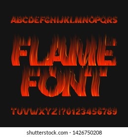 Flame alphabet font. Fire effect type letters and numbers on dark background. Stock vector typeface for your design.