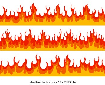 Flame borders. Fire blazing banner, heat burn wildfire silhouette flammable elements, hot flaming border isolated vector illustration set. Fire heat, hot border line, detailed raging flammable