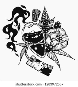 Flame bottle and flover. Vector illustration isolated. Tattoo design, magic symbol for your use.