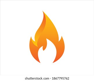 Flame burn icon template, fire warning illustration
