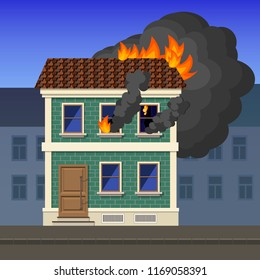 Flame coming out of a window of an apartment building in the city, vector illustration