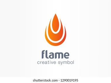 Flame creative symbol concept. Fire energy in drop shape abstract business logo. Flammable water fuel power, ignite heat bonfire, gas burn icon. Corporate identity logotype, company graphic design