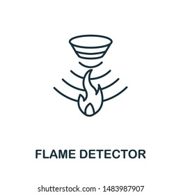 Flame Detector outline icon. Thin line style from sensors icons collection. Pixel perfect simple element flame detector icon for web design, apps, software, print usage.