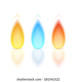 Flame of different colors with reflection on white background, vector eps10 illustration