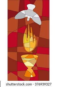 A flame and a dove as symbols for pentecost