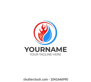 Flame and drop water, cooling and heating logo template. Plumbing, heating, gas supply, air conditioner, service and repair vector design. Renewable energy source illustration