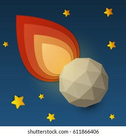 Flame falling meteorite in space. Science concept inspiration. Paper art cartoon realistic trendy craft style. Modern origami design template. Funny cute childrens vector illustration.