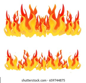 Flame, fire, bonfire, cartoon vector set