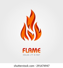 Flame of Fire Logo abstract vector design element template, Creative concept business logotype, Vector illustration Eps 10