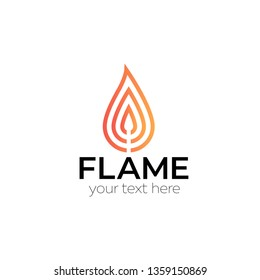 Flame fire match vector logo illustration