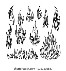 Flame of fire stylized monochrome vector sketch. Set of elements of different shapes on a white background.