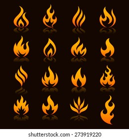 flame and fire vector icons with reflections on a dark background