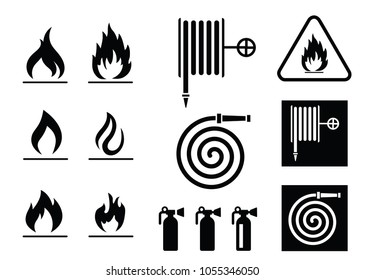 Flame Fire Warning Dangerous Alarm signal Flame hot attention help set icon vector sign Firefighter Alert fire hose Hazards Ringing alarm bell symbol system fireworks beware emergency Caution