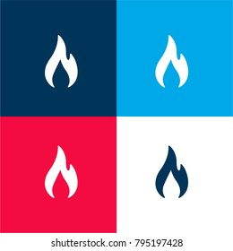 Flame four color material and minimal icon logo set in red and blue