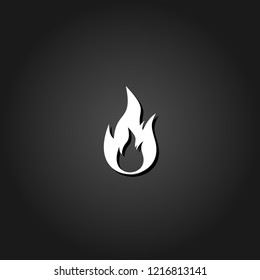 Flame gas fire icon flat. Simple White pictogram on black background with shadow. Vector illustration symbol