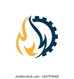 Flame and gear combination industrial logo vector design