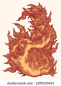 Flame. Hand drawn engraving. Vector vintage illustration. Isolated on white background. 8 EPS