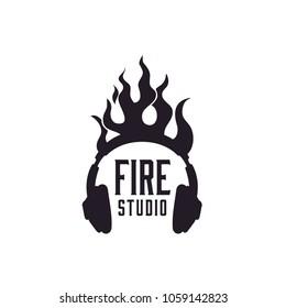 Flame Headphone logo design inspiration