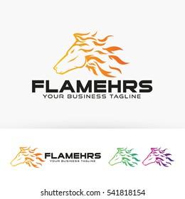 Flame Horse, Vector logo template