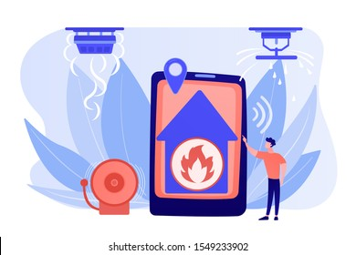 Flame in house remote notification. Smart home, high tech. Fire alarm system, fire prevention methods, smoke and fire alarm concept. Pinkish coral bluevector isolated illustration