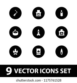 Flame icon. collection of 9 flame filled icons such as bonfire, fireplace, candle, fire protection, blowtorch. editable flame icons for web and mobile.