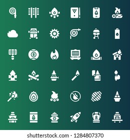 flame icon set. Collection of 36 filled flame icons included Barbecue, Oil lamp, Rocket, Hydrant, Matches, Grill, Flame, No fire allowed, Campfire, Fire, Torch, Lighter, Match