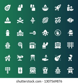 flame icon set. Collection of 36 filled flame icons included Grill, Oil lamp, Fireplace, Fire, Barbecue, Asteroid, Pyre, Rocket, Lighter, Matches, Hose, Hydrant, No fire allowed