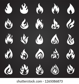 Flame icon set on black background for graphic and web design, Modern simple vector sign. Internet concept. Trendy symbol for website design web button or mobile app
