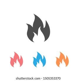 Flame icon set vector illustration