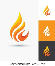 Flame icon in a shape of droplet. Fire symbol. Water drop silhouette. Oil and gas industry elegant logo template.