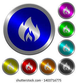Flame icons on round luminous coin-like color steel buttons