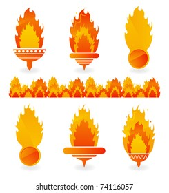 Flame icons on white background