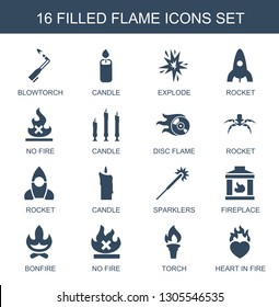flame icons. Trendy 16 flame icons. Contain icons such as blowtorch, candle, explode, rocket, no fire, disc flame, sparklers, fireplace, bonfire. icon for web and mobile.