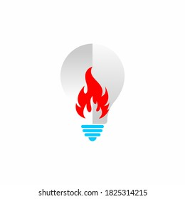 Flame light bulb symbol. Spirit idea symbol. Spirit Inspire logo design concept, Hot Idea logo design, Stock Idea Bulb logo symbol illustration
