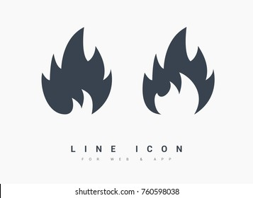 flame line vector icon