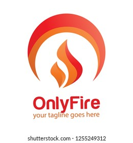 Flame logo abstract, symbol, 3d. Vector logo template