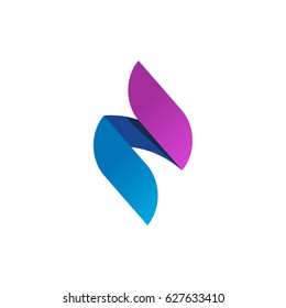 Flame logo, gradient spear logotype, idea or candle fire symbol, abstract violet blue energy, creative trendy identity isolated on white background